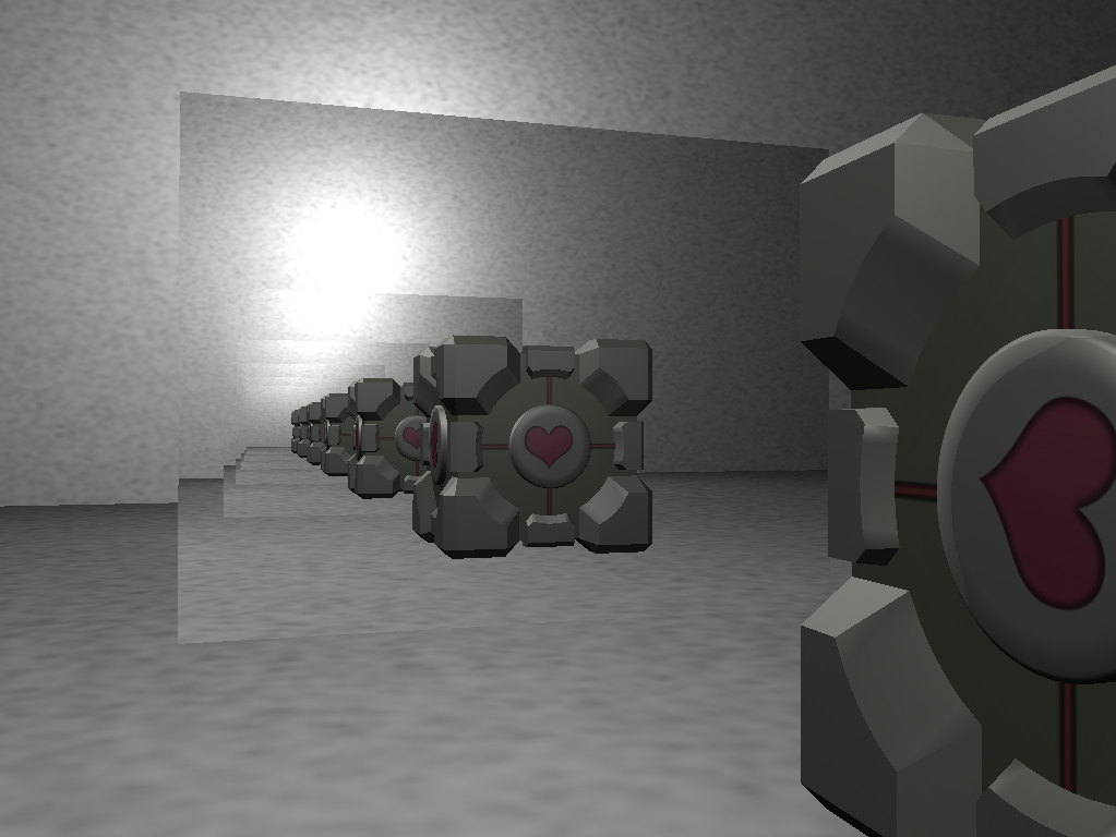 Companion Cube sees itself